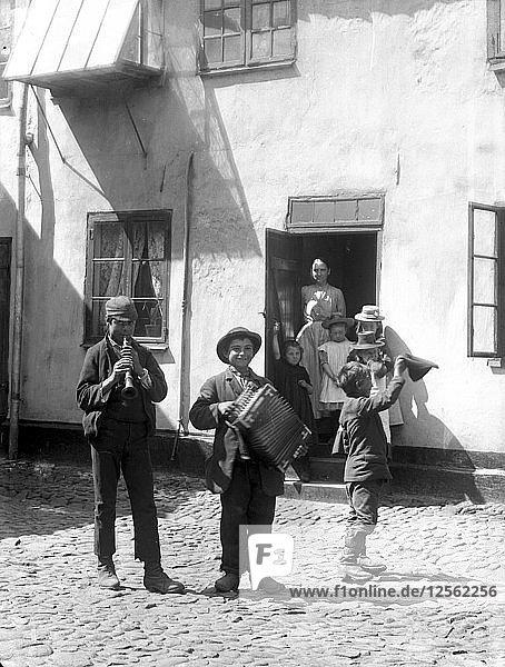 Young backyard musicians  Landskrona  Sweden 1910. Artist: Unknown