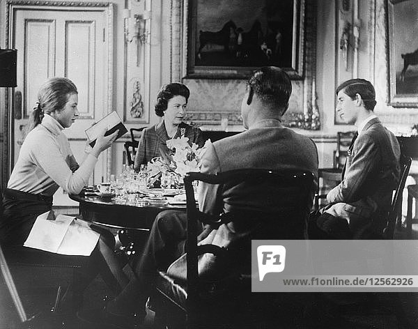 The Royal family lunches in Windsor Castle  1969. Artist: Unknown.