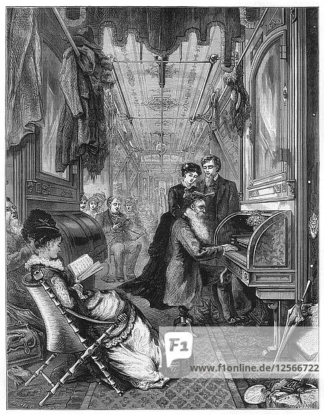 Sunday on the Union Pacific Railway  USA  1875. Artist: Unknown