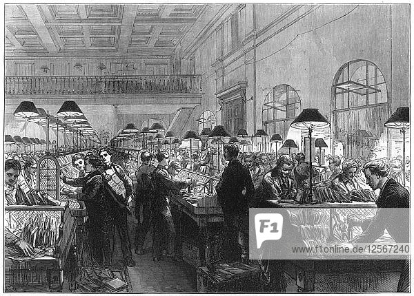 Stamping and sorting office  General Post Office  London  1875. Artist: Unknown
