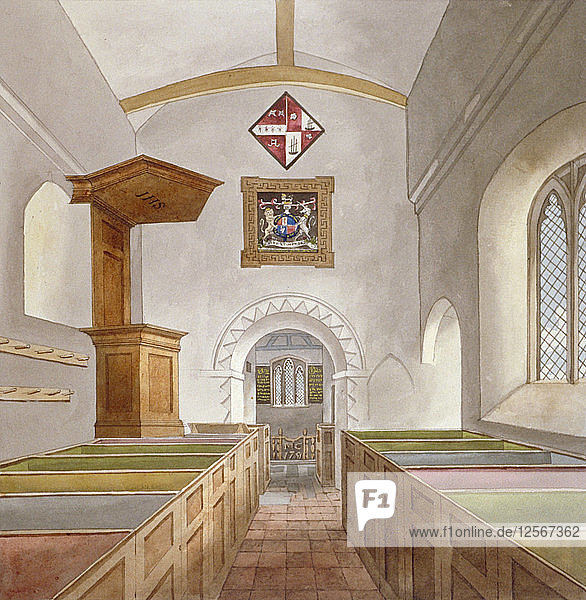 Interior of the Church of St Mary  Bedfont  Middlesex  1805. Artist: Anon
