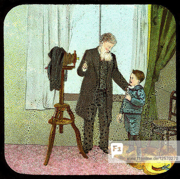 Photographer and child  c19th century. Artist: Unknown