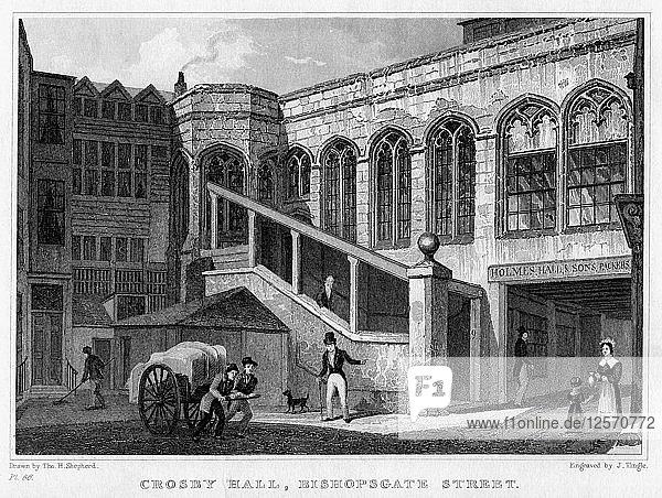 Crosby Hall  Bishopsgate Street  City of London  1830.Artist: J Tingle