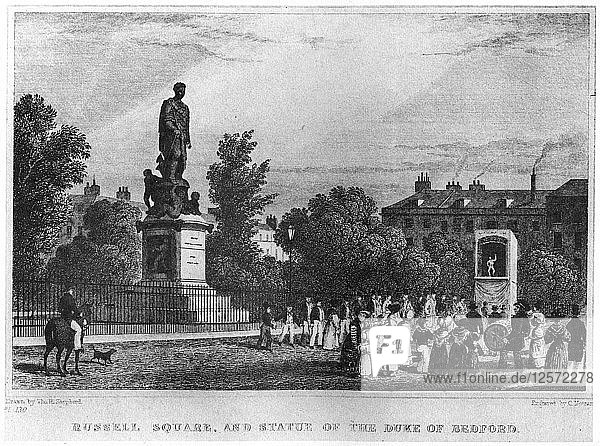 Russell Square and the statue of the Duke of Bedford  London  19th century (1907). Artist: Unknown