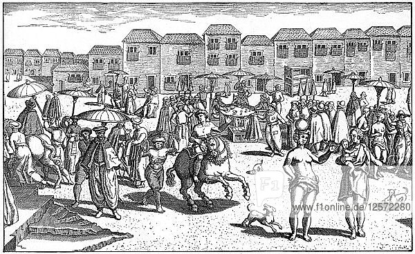 Market in Goa  India  1599. Artist: Unknown