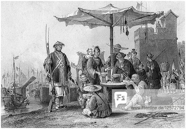 Rice sellers at the military station of Tong-Chang-foo  China  19th century.Artist: R Staines