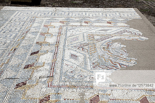 A mosaic floor in the House of the Swastika Cross  Conimbriga  Portugal  2009. Artist: Samuel Magal