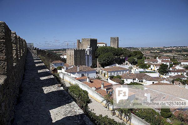 Obidos Castle walls  Obidos  Portugal  2009. Artist: Samuel Magal
