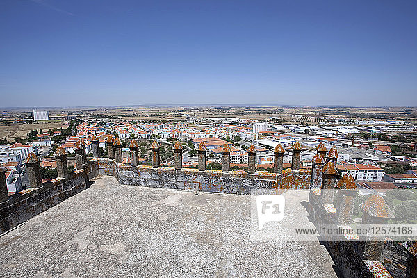 Merlons on the battlements of Beja Castle and view of the city  Beja  Portugal  2009. Artist: Samuel Magal