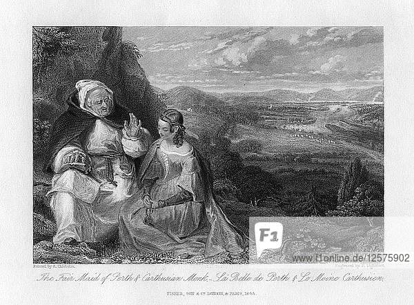 The Fair Maid of Perth and Carthusian Monk  1845. Artist: Peter Lightfoot