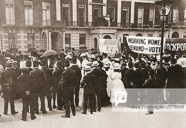 Spectators gather on Portland Place to watch the Womens Sunday procession  London  21 June 1908. Artist: Unknown