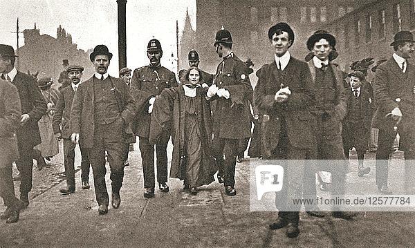 Arrest of Dora Marsden  British suffragette  outside the Victoria University of Manchester  1909. Artist: Unknown