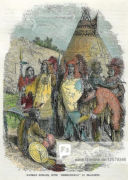 Mandan Indians  with Medicine Man in Bear Skin  c1875. Artist: Unknown