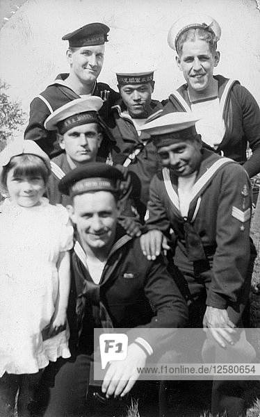 Sailors from six different countries during the Coronation review  Southsea  Hampshire  1937. Artist: Unknown