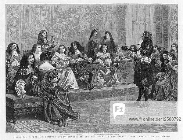 Charles II and his court at the palace during the Plague of London  c1665-1666 (1890). Artist: Unknown