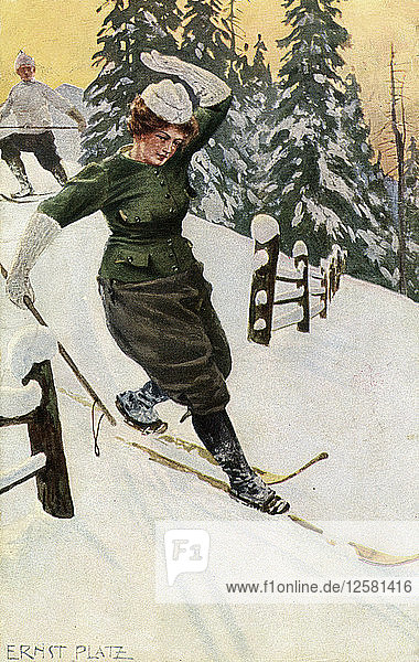 Woman skiing  late 19th or early 20th century.Artist: Ernst Platz