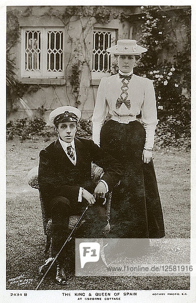 The King and Queen of Spain at Osborne Cottage  Isle of Wight  c1906-c1919(?). Artist: Unknown