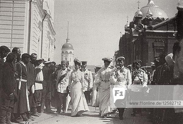 The Russian royal family visiting Sarov Monastery  Russia  1903. Artist: K von Hahn