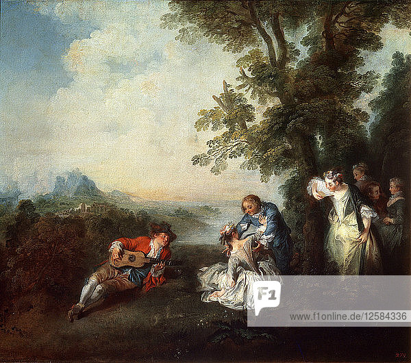 Company at the Edge of a Forest  late 1720s. Artist: Nicolas Lancret