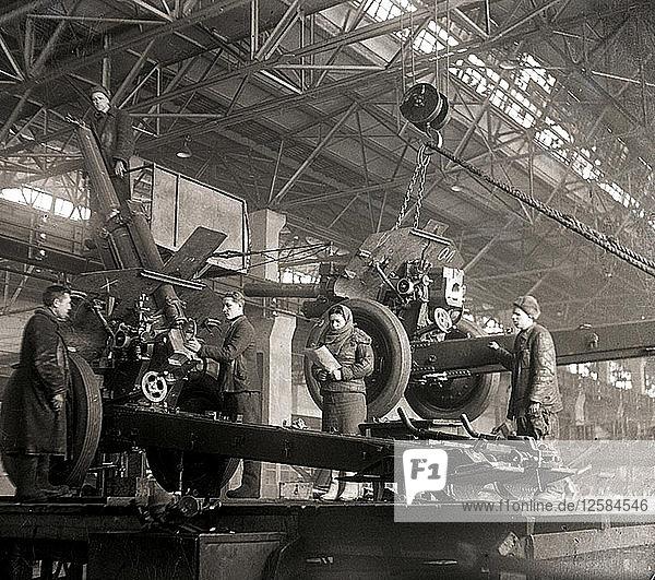 Gun production in wartime  USSR  World War II  c1941-c1943. Artist: Anon