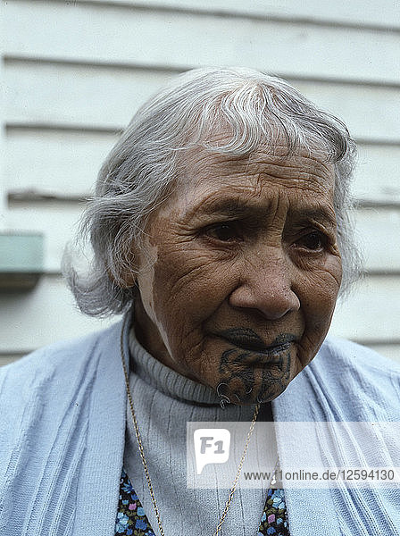 An elderly Maori woman  reputed to be the last survivor with facial tattooing.
