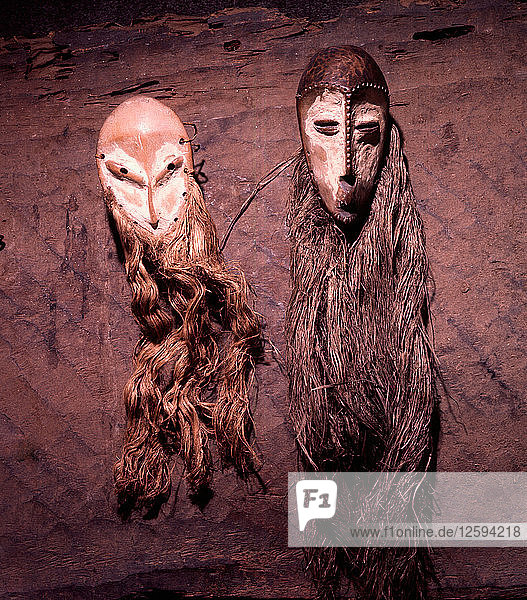 Masks which are not worn but manipulated and used as a mnemonic device linked with proverbs recited during the initiation rites of the senior grades of the Lega Bwami society.