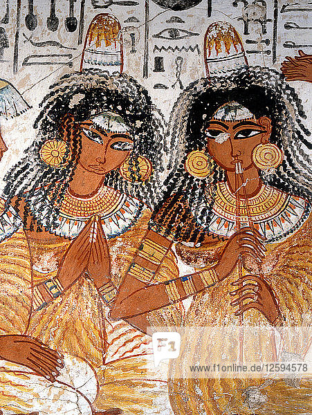 A detal of part of a banquet scene from the tomb of Nebamun.