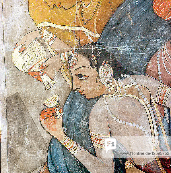 A detail of a scene from one of the legends of Krishna.