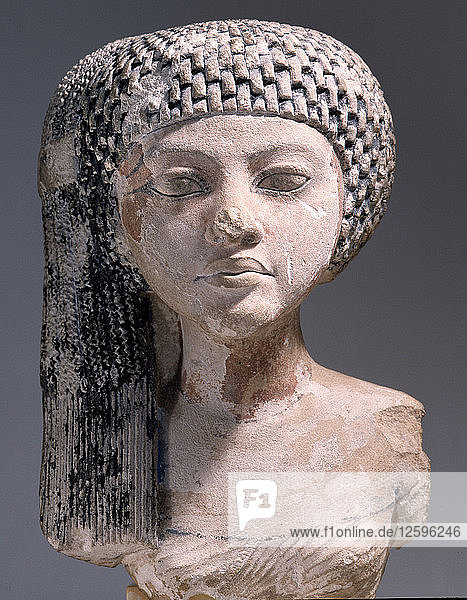 Bust of a young woman possibly a daughter of Akhenaten or an Amarna princess in the court of King Smenkhkare or Tutankhamun.