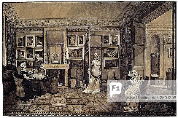 Drawing Room in the Baryatinsky House in Altona  1807. Artist: Elisabeth Louise Vigee-LeBrun