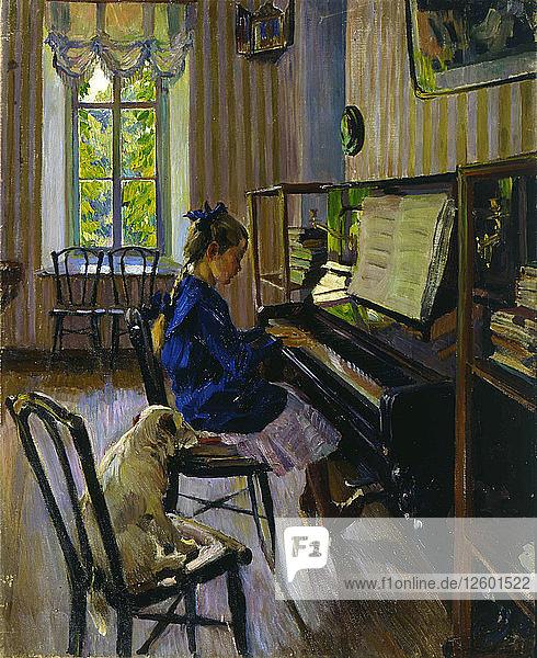 At the Piano  1914. Artist: Sergey Vinogradov