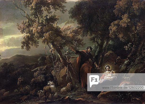 Rest on the Flight into Egypt  17th century. Artist: Nicolaes Berchem