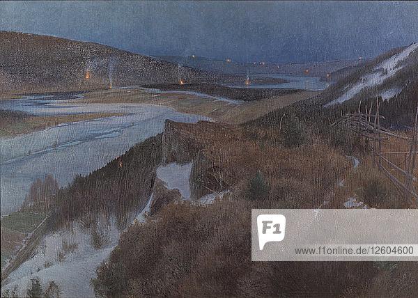 Walpurgis Night in Bergslagen,  Grangärde in Dalarna,  1896. Artist: Schultzberg,  Anshelm Leonard (1862-1945)