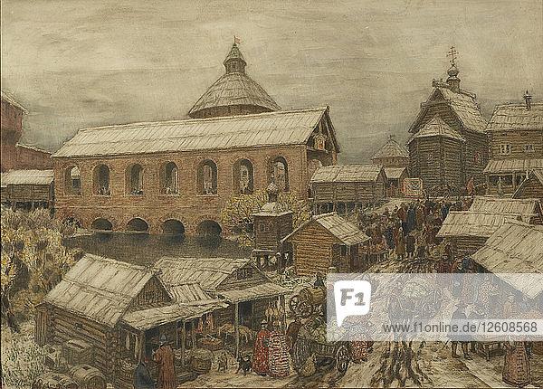 Old Moscow. Okhotny Ryad (Hunting Row)  1900s-1910s. Artist: Vasnetsov  Appolinari Mikhaylovich (1856-1933)