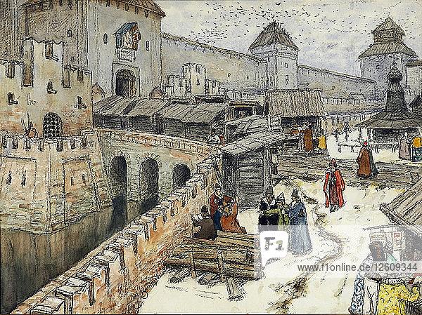 Moscow in the 17th Century. Bookshops on the Christ the Saviour Bridge  1902. Artist: Vasnetsov  Appolinari Mikhaylovich (1856-1933)