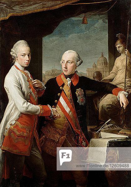 Emperor Joseph II with Grand Duke Pietro Leopoldo of Tuscany  1769. Artist: Batoni  Pompeo Girolamo (1708-1787)