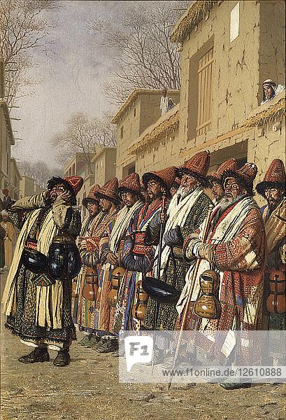 Dervishes Chorus Begging Alms in Tashkent  1870. Artist: Vereshchagin  Vasili Vasilyevich (1842-1904)