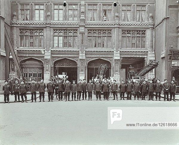 Firemen lined up outside Bishopsgate Fire Station  Bishopsgate  City of London  1908. Artist: Unknown.