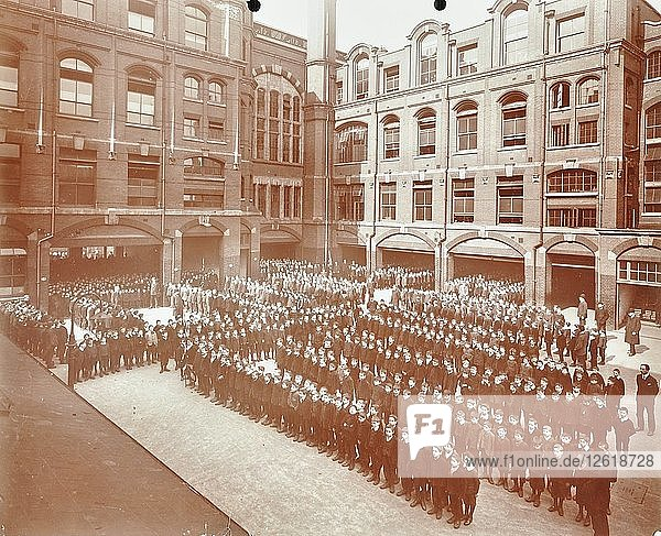 Assembly in the playground  Jews Free School  Stepney  London  1908. Artist: Unknown.