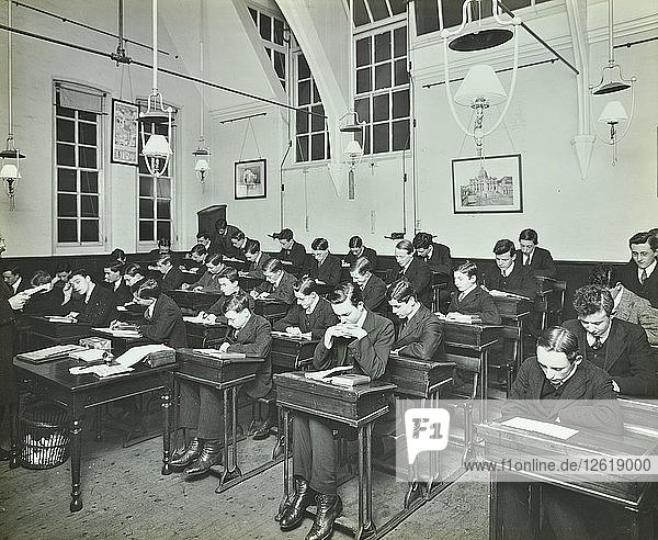 Civil Service class for male students  Hammersmith Commercial Institute  London  1913. Artist: Unknown.