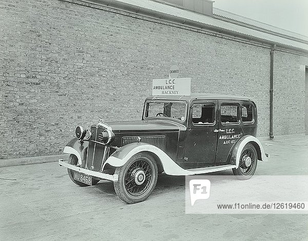 Car converted into London County Council ambulance  Wandsworth Depot  1940. Artist: Unknown.