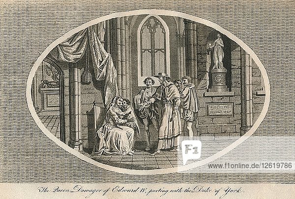 The Queen Dowager of Edward IV parting with her son  the Duke of York  1483 (1793). Artist: Unknown.