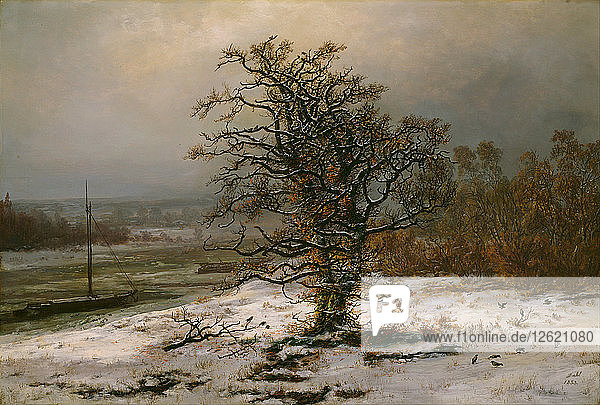 Oak Tree by the Elbe in Winter. Artist: Dahl  Johan Christian Clausen (1788-1857)