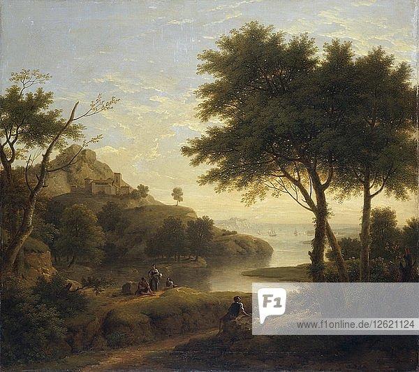 Landscape near a coastal inlet  1763. Artist: George Lambert.