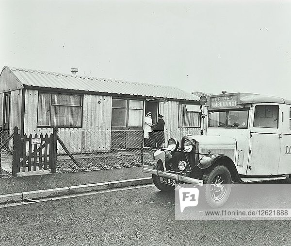 Ambulance delivering a cylinder of gas  Woolwich  London  1946. Artist: Unknown.