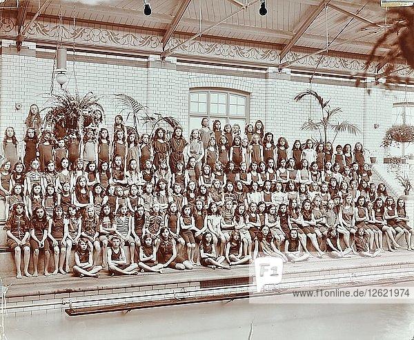 Swimming class  Lavender Hill Girls School  Bermondsey  London  1906. Artist: Unknown.