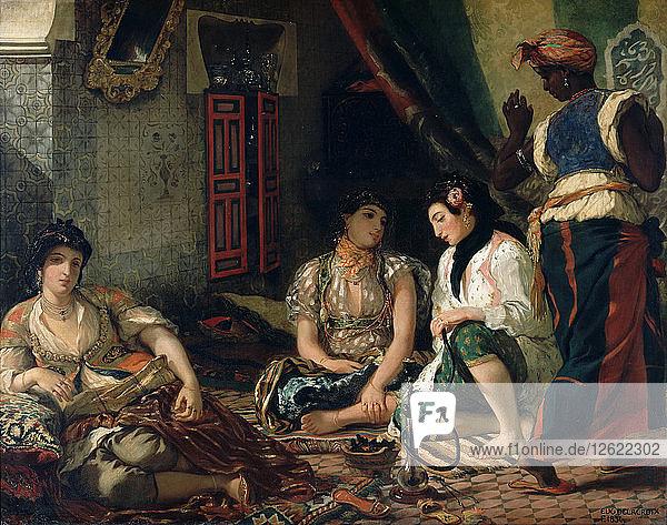 The Women Of Algiers In Their Apartment. Artist: Delacroix  Eugène (1798-1863)