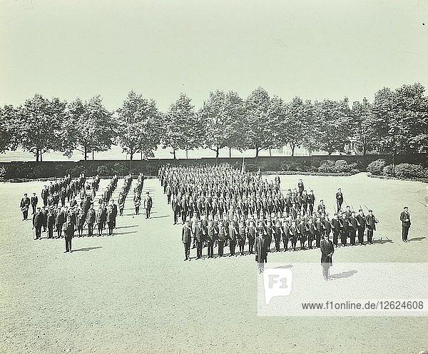School cadet battalion on parade  Hackney Downs School  London  1911. Artist: Unknown.