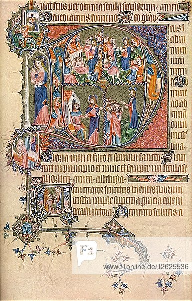A Page from the Egerton Bohun Psalter-Hours  (1370)  1937. Artist: Unknown