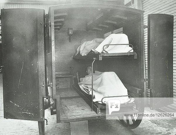 Interior of a horse drawn Metropolitan Asylums Board ambulance  London  1939. Artist: Unknown.